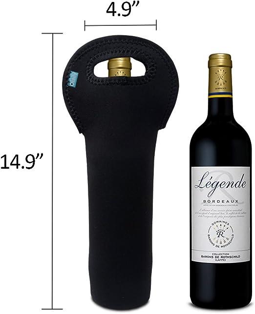 Amazon Com Wine Carrier Ofeily Durable Neoprene Single Bottle Wine Tote Bag Beer Cans Champagne Water Or Drink Bottle Bag 1 Bottle Black Bar Tools Drinkware