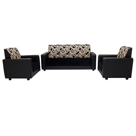 Woodpecker Adams Five Seater Sofa Set 3 1 1 Black Amazon