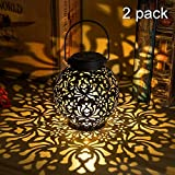 {2 Pack} Outdoor Solar Hanging Lantern Lights Metal