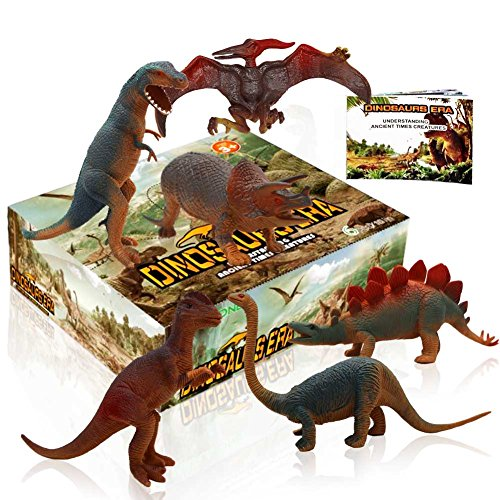 Dinosaur Toys,Toy Dinosaurs For Dinosaur Party Supplies Plastic Dinosaurs Jurassic Park Toys For 3 Year Olds Including T rex Toy And Dinosaur Book(6 pcs 10