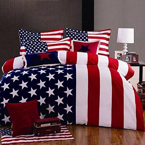 Joybuy American Flag Print Bedding Set Queen Size Duvet Cover Sheet Pillow Case 4pcs Bedding Set Queen Not Included