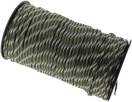 100M Cuerda de Paracord de Tienda de Campaña a Prueba de Viento Línea de Sujeción Cinta para Acampada Escalada - Camuflaje de Bosque