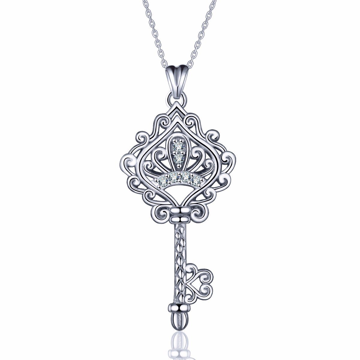 EUDORA 925 Sterling Silver Necklace''V&A Bless'' Key of Love Pendant 18 inch, Eternal Lucky Gift for Her