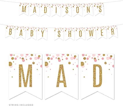 Happy Birthday Banner,baby shower,Personalizedbanners,Custom banners,baby party,Rose Gold Banners,1st Birthday Rose Gold Baby Name Birthday