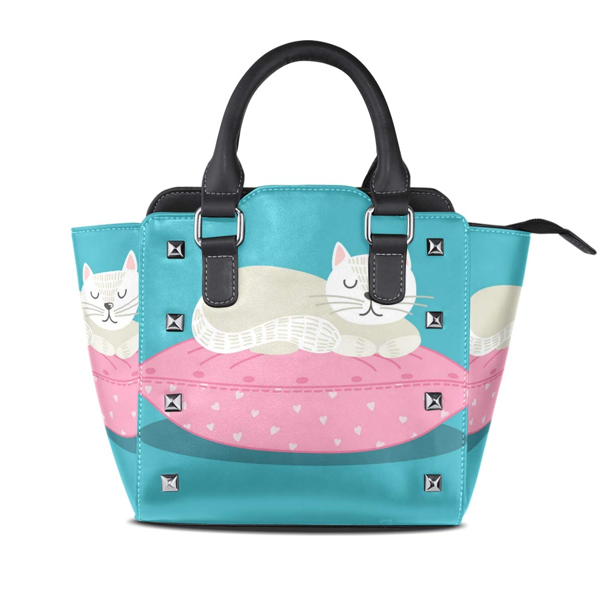 Design2 Handbag Cat Is Playing With Ball Of Yarn Genuine Leather Tote Rivet Bag Shoulder Strap Top Handle Women