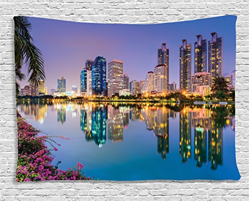 Ambesonne Wanderlust Decor Collection, Bangkok, Thailand At Benjakiti Park Lake Flowers Palms Southeast Asia Touristic Places , Bedroom Living Room Dorm Wall Hanging Tapestry, 60W X 40L Inch (Room Living Place Park)
