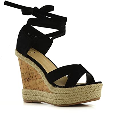 3863635f1479 ESSEX GLAM Womens Tie Up Sandals Ladies Black Faux Suede Platform Wedge  Summer Espadrilles Shoes 5