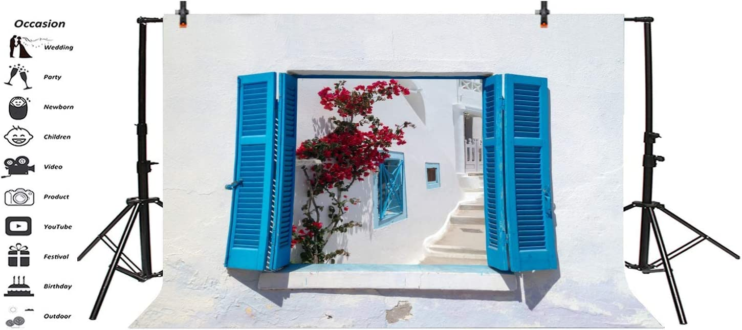 White Traditional Architecture Backdrop 10x6.5ft Photography Background Italy Greece Romantic Weeding Red Flower Blue Window Photo Shooting Studio Props
