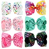 inSowni 8' Big Large Unicorn Bow Hair Clips Barrettes for Baby Girl Toddlers Kids (6PCS S4 (Size/8'))