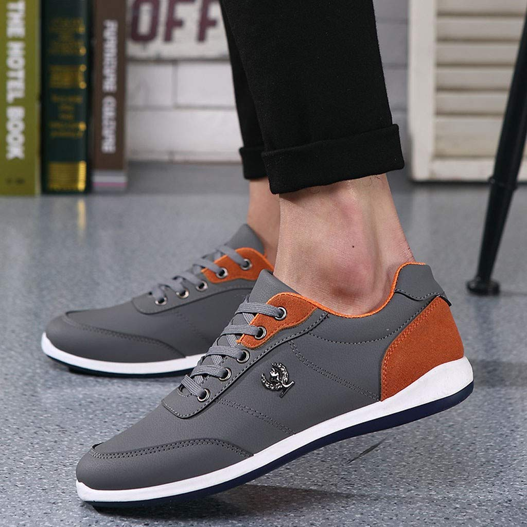 Lloopyting Mens Pu Solid Color Causal Shoes Light Comfort for Walking Gym Lightweight Fashion Sneakers Lace-Up Flat Shoes Gray by Lloopyting (Image #4)