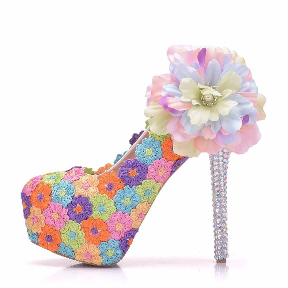 Hochzeit Braut Schuhe Frau Pumps Geschlossen Zehe Plattform Hoch Hacke Farbig Spitze Blaumen Abschlussball Abend Gericht Schuhe Größe 35-41