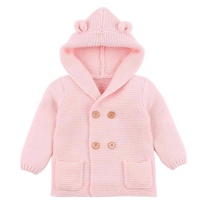 Amlaiworld Abrigos bebé, pequeño Recién Nacido Bebé Niñas Niños Color sólido Orejas Tops de Punto con Capucha Ropa de Abrigo cálido Suéter Chaquetas: ...