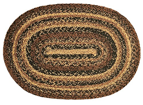 IHF Home Decor Cappuccino | Oval Accent Floor Carpet for Office, Living Room, Porch, Dormitory | Thick Multicolored Braided Area Rugs | 100% Natural Jute Fabric Mat - Diameter 4' x 6' (Porch Area)