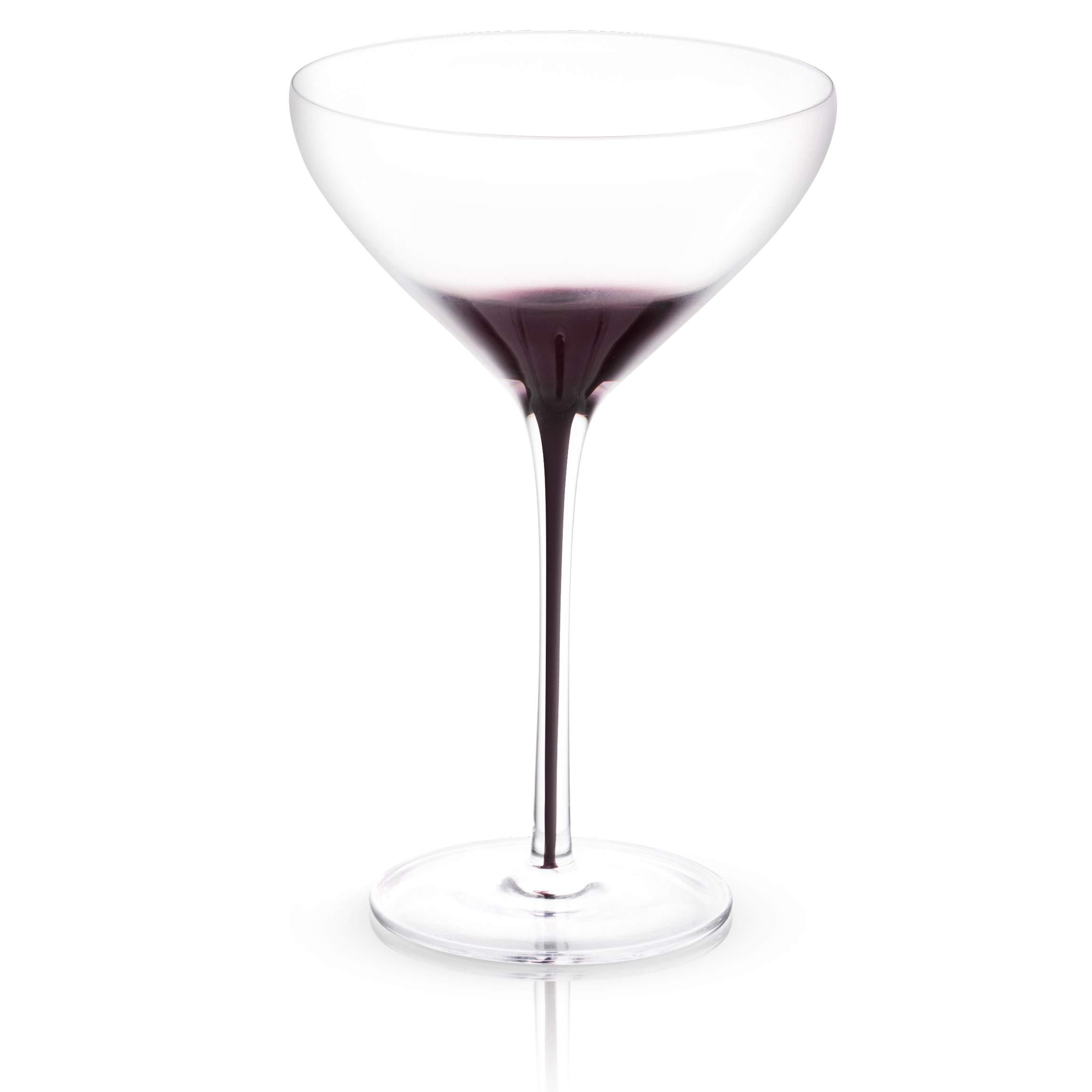 JoyJolt Black Swan Stemmed Martini Glasses, Premium Lead Free Crystal Glassware, 10.5 Oz Capacity, Set Of 2 by JoyJolt (Image #2)
