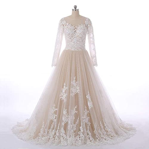 410dc7707c9 Amazon.com  Champagne and White Lace Tulle Bridal Party Dresses for Wedding  Prom Quinceanera Ball Gown Long Sleeve Sleeveless  Handmade