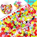 Newbested 800 PCS Assorted Buttons for Arts & Crafts Different Color and Style for Crafts Resin Round Buttons Craft Buttons Favorite Findings Basic Buttons