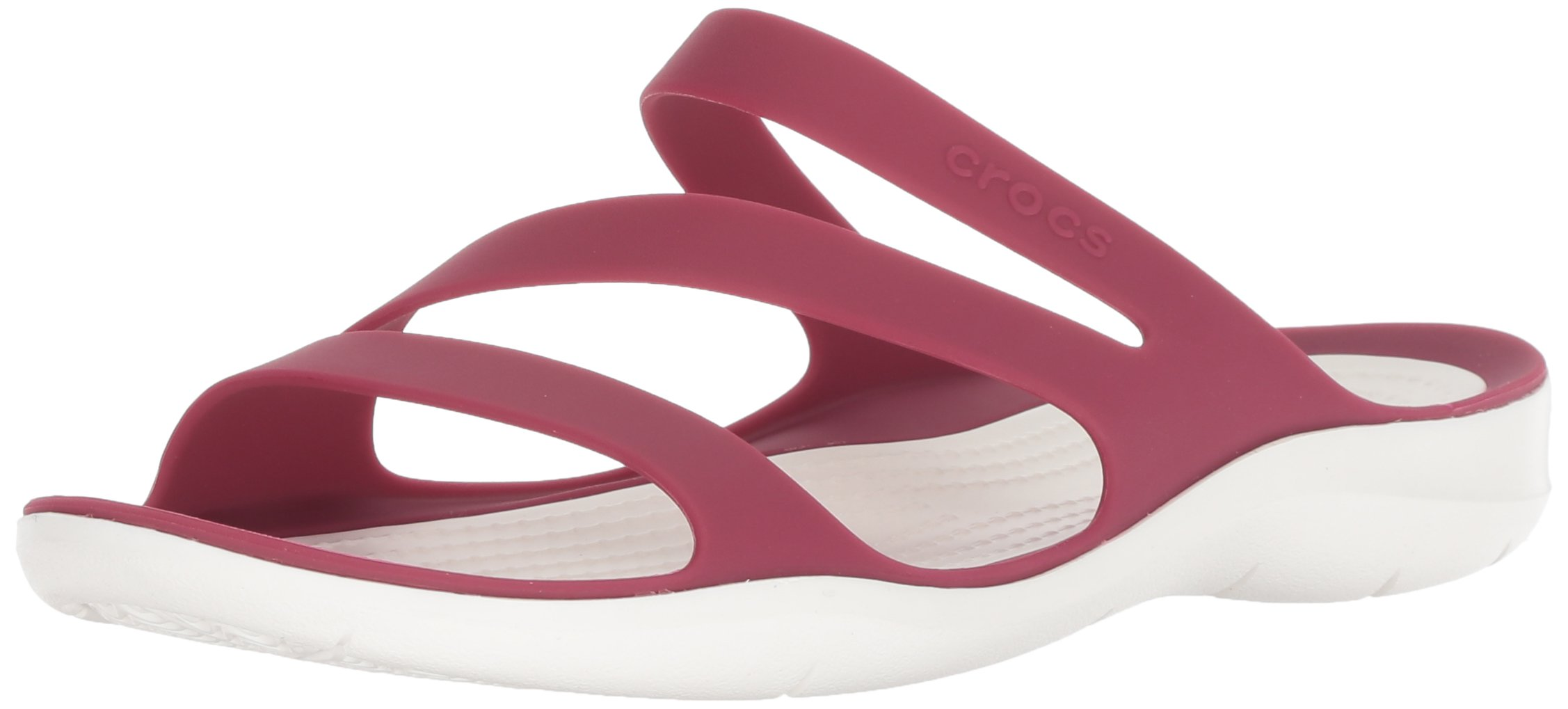 Crocs Women's Swiftwater Sandal W Sport, Pomegranate/White, 10 M US