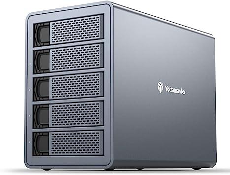 Yottamaster Aluminio Carcasa Externa Raid para el Montaje de 5 Discos Duros de 3.5″/2.5″ SATA, función Raid 0/1/3/5/10/JBOD/PM, 5 bahía Caja con Ventilador de 80mm: Amazon.es: Electrónica
