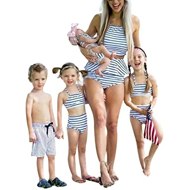7369c62d05 Baby Kids Boy Girls Mother Family Matching Bikini Blue& White Striped  Halter Bandage Swimwear Bathing