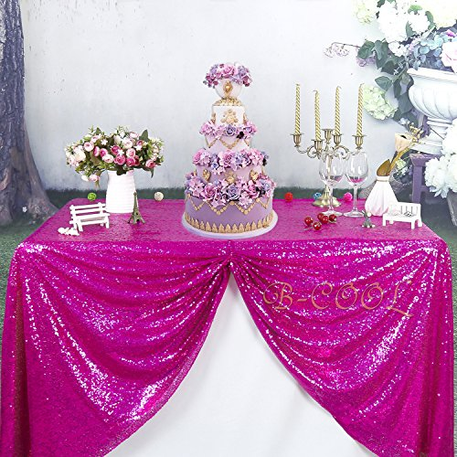 "B-COOL 60""x102"" rectangle Fuchsia sequin tablecloth Glitter Tablecloth Wedding Party Sequin Tablecloth for Christmas"