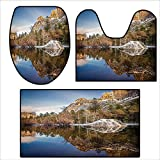 Non Slip Bath Shower Rug Yosemite Mirror Lake and Mountain Reflection on Water Sunset Evening View Picture Navy Brown.Custom Made Rug Set 16.9''x15.7''-23.6''x23.6''-31''x23.6''