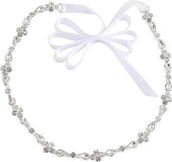 WEZTEZ حزام الزفاف الرقيق لوصيفة العروس كريستال حزام الزفاف مع أحجار الراين اللؤلؤ للنساء اكسسوارات اللباس