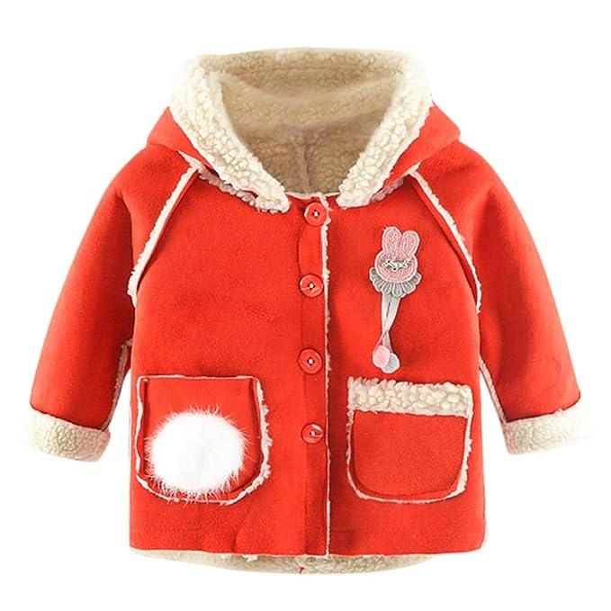 Xmiral Abrigo para Niñas, Chaquetón Estampado Decorativo Chaquetas Forro Polar con Capucha Invierno Calentito Bebés