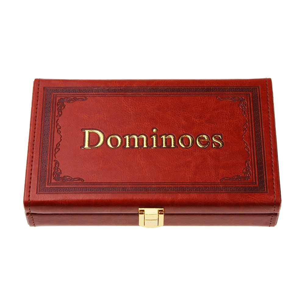 Once ZY Time 28pcs Double 6 Melamin Domino Set mit Luxus PU Leder Wooden Box Classic Reisen Brettspiele