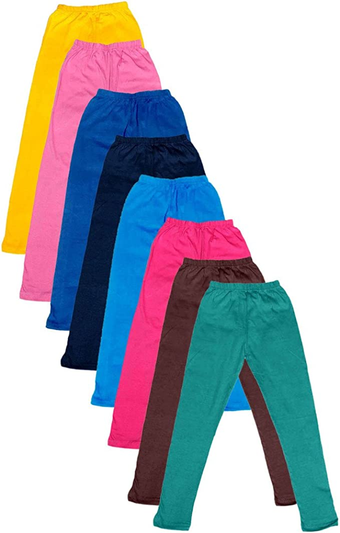Indistar Big Girls Cotton Full Ankle Length Solid Leggings -Multiple Colors-7-8 Years Pack of 8