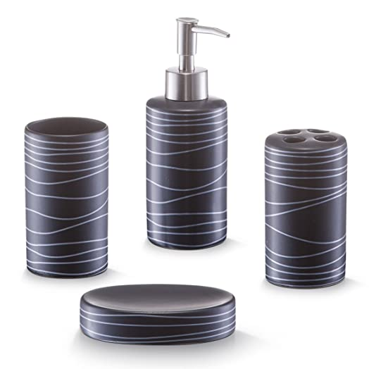 zeller 18252 4 piece bathroom accessories set ceramic black
