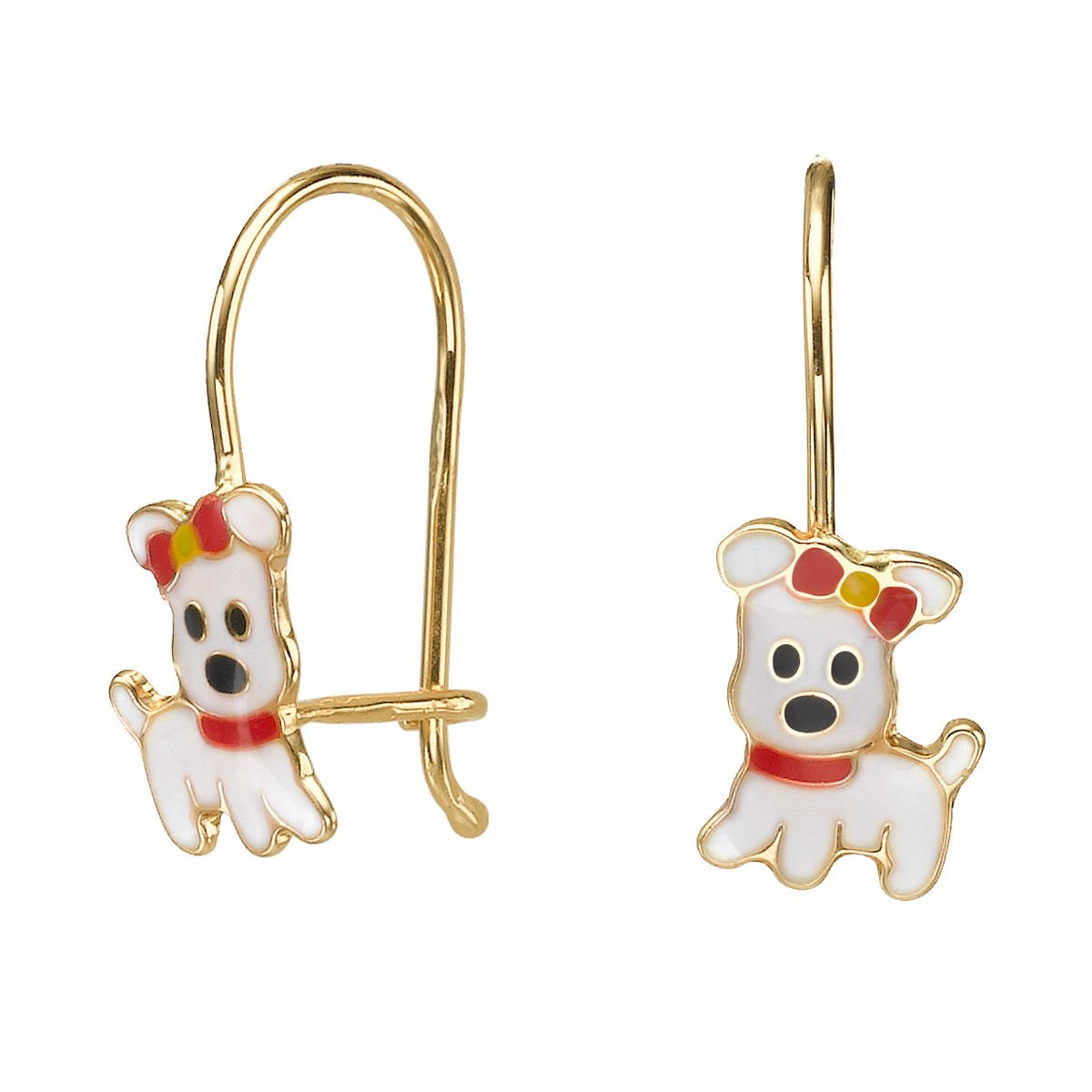 14K Solid Yellow Gold Eliptical Hoop Earrings Animals Dear Doggie Gift Kids Teen Girls Children Baby