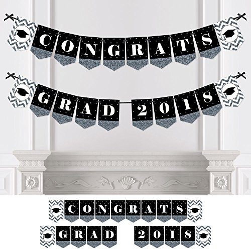 Silver Tassel Worth The Hassle - Graduation Party Bunting Banner - Silver Party Decorations - Congrats Grad 2018 by Big Dot of Happiness