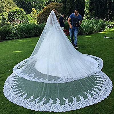 Women's 1T 3M Bridal Veils Lace Trim for Cathedral Wedding