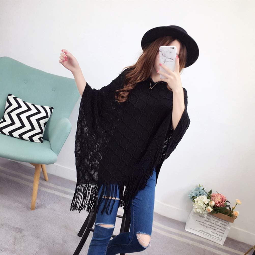 CrazyTiger Ladys Casual Batwing Sleeve Medium Length Loose Pullover Knitwear Shawl Cloak Overcoat