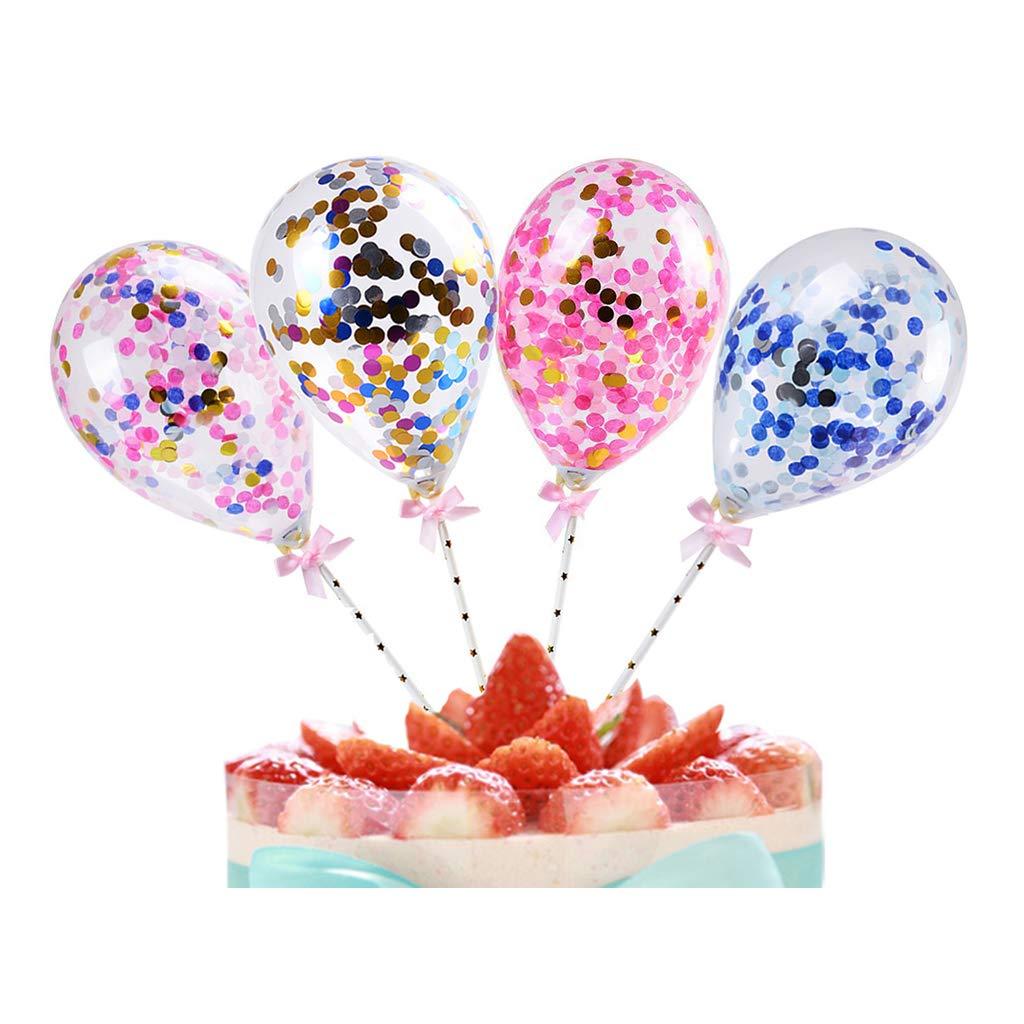 Cake Topper Decoration Mini Confetti Balloon With Paper Straw Ribbon Party 5inch