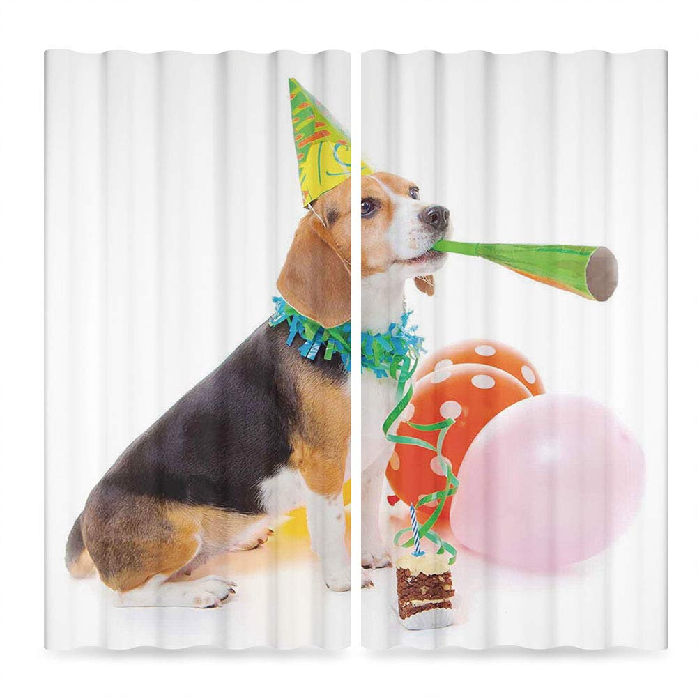 C COABALLA Birthday Decorations for Kids Bedroom Curtains Blackout,Animal Dog Party Cone Cake Colorful Balloons Image,for Living Room, 2 Panel Set, 28W X 39L Inches