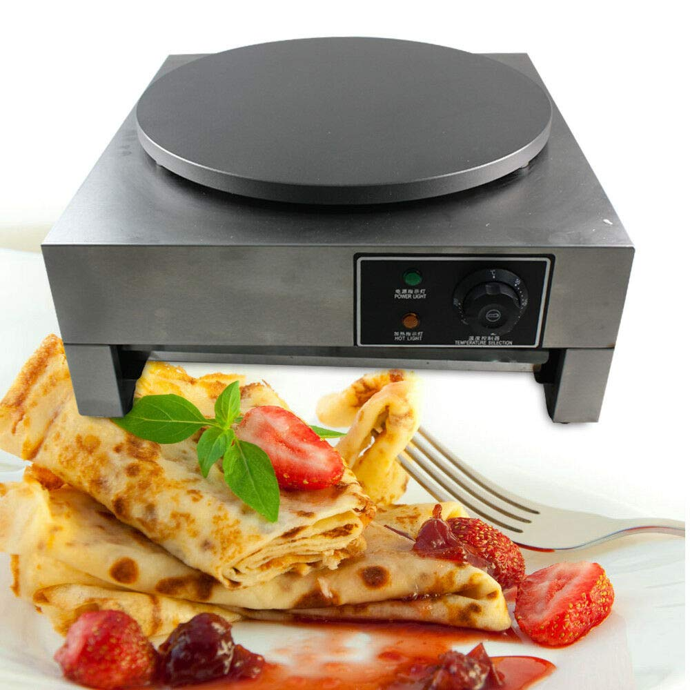 Electric Crepe Maker, 16'' Commercial Electric Crepe Maker Pancake Griddle Machine Single Hotplate Non Stick for Pancakes, Blintzes, Eggs US by BSTOOL (Image #2)