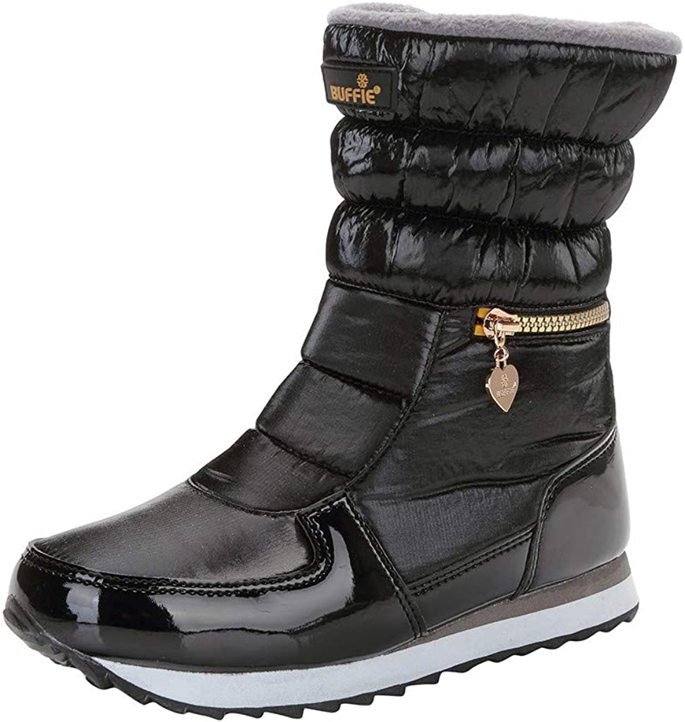 HCFKJ Botas De Nieve para Mujer Plataforma Botas De Nieve Impermeables con Forro De Media Pantorrilla Calientes para Mujeres