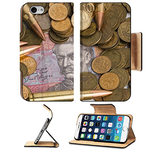 Liili Apple iPhone 6 iPhone 6S Flip Pu Leather Wallet Case Russian and Ukrainian paper money coins and bullets iPhone6 IMAGE ID 28339581