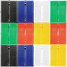 LampVPath [12Packs] 170 Points Mini Small solderless breadboard for Arduino Proto Shield (6 Colors)