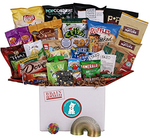 Brain & Grain Healthy Care Package - Large Size, Snacks and Treats for University Student Birthday or Final Exams, New Hires, Interns, Office Breakroom, Meetings, New Clients by Beyond Bookmarks