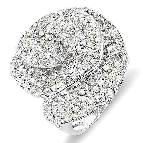 Unique Right Hand Rings (4.00 Carat (ctw) 14k White Gold Round Diamond Ladies Cocktail Rose Right Hand Statement Ring 4 CT (Size 5))