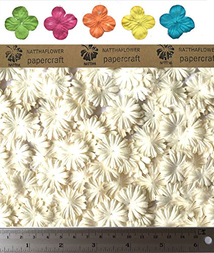 100 Ivory White Mulberry Daisy Paper Flowers for Craft Scrapbooking Embellishment