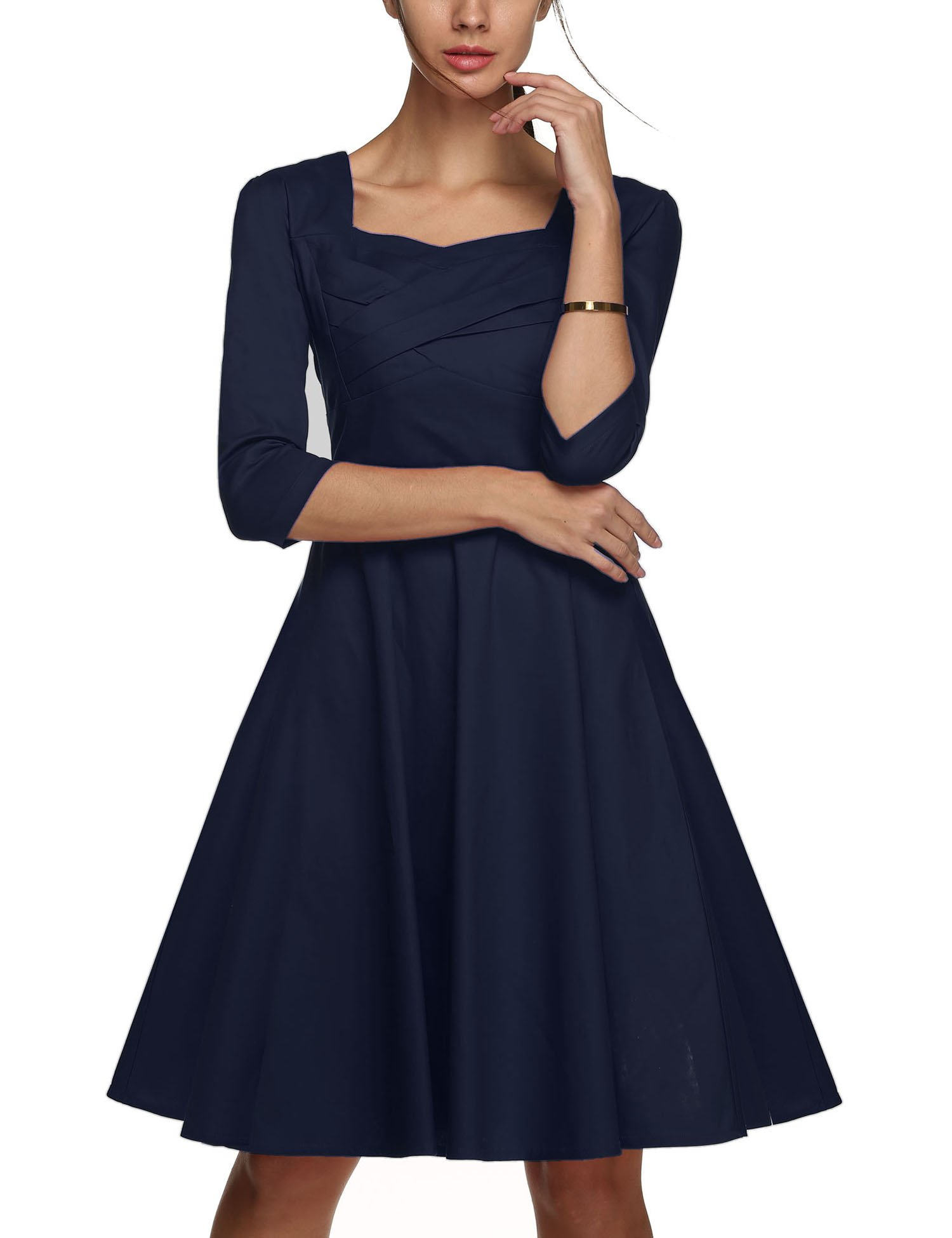 UpBeauty Women's 3 4 Sleeve Fit and Flare Swing Classy Vintage Dress,Navy Blue,Large