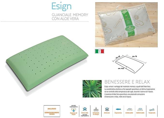 Guanciale Memory Aloe Vera.Coingrostex Pillow In Memory Esign With Aloe Vera Guanciale