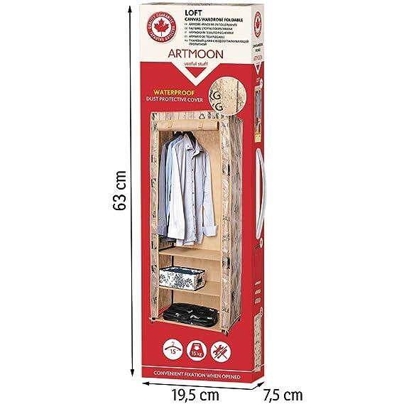 ArtMoon Loft Armario de Tela Plegable Estantes para Ropa Acero pintado / plástico / poliéster 61x45x155cm: Amazon.es: Hogar