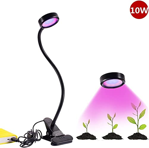 Windspeed LED Plant Grow Light, Updated Grow Lamp 8 W 2 Level Dimmable with Spring Clamp and Gooseneck Arm for Indoor Plant Greenhouse 10W