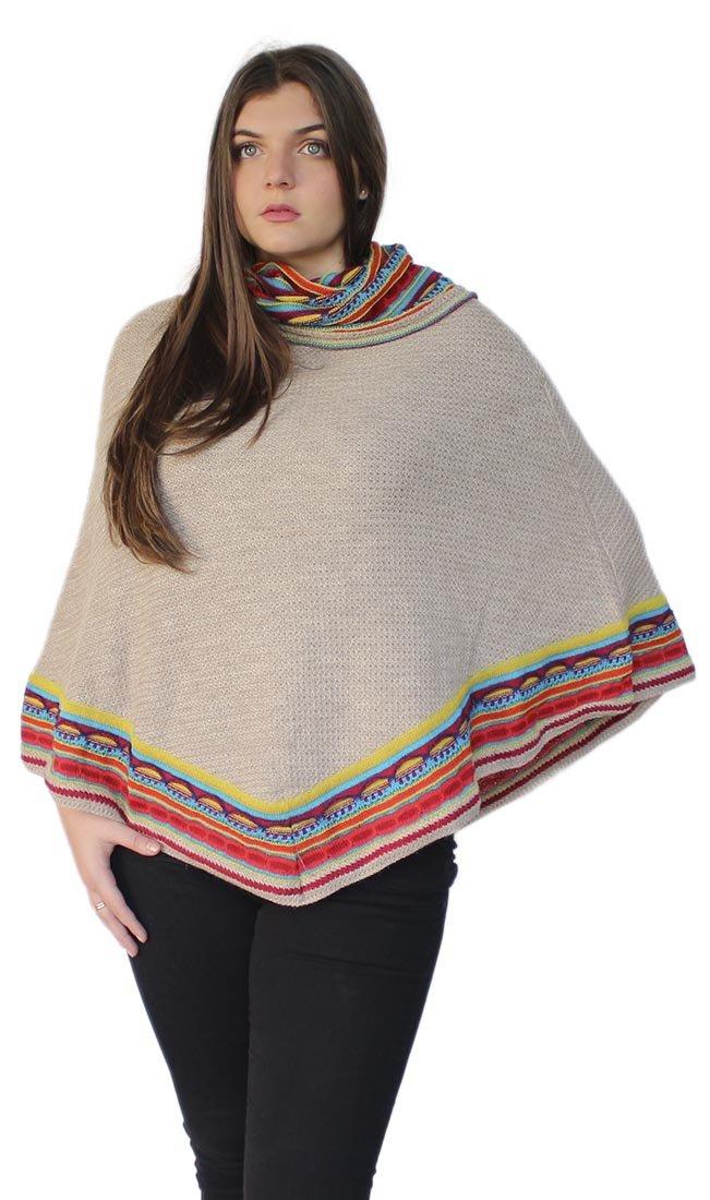 Women's Superfine 100% Baby Alpaca Wool Handmade Knit Poncho One Size