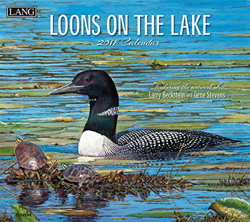 "LANG - 2018 Wall Calendar - ""Loons On The Lake"", Artwork by Larry Beckstein & Gene Stevens - 12 Month - Open 13 3/8"" X 24"""