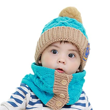 Bambino Bambina blu berretto fatto a mano lavoro a maglia inverno caldo  cappello sciarpa + a04c6b381c83